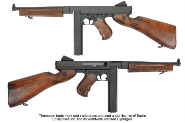 military thompson m1a1 full metal and wood,machine gun,world